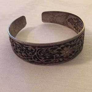 Jewelry - Floral Engraved Silver Bracelet